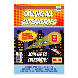 Comic Book Superhero Birthday Invitations