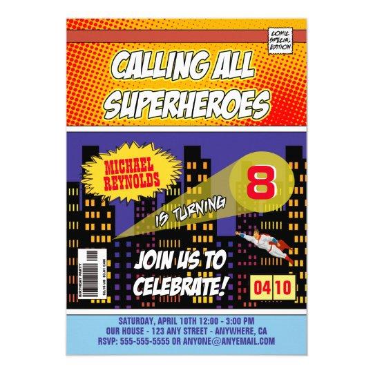 comic book superhero birthday invitations zazzle com