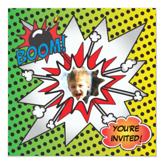 "Comic Book Superhero Birthday Party Photo Card 5.25"" Square Invitation Card"