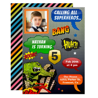 Comic Book Superhero Birthday Party Photo Invite