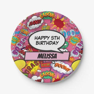 Comic Book Superhero Birthday Party Pink Paper Plate