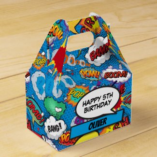 Comic Book Superhero Blue Birthday Party Favor Box