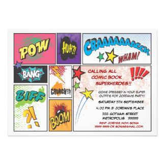 Comic Book Superhero Boys Birthday Party Invite