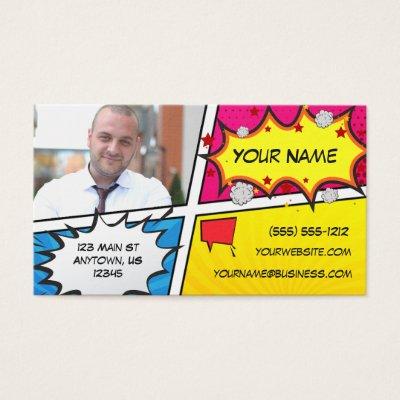 Vintage comic book yellow halftone business card zazzle colourmoves