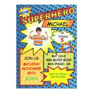 Comic Book Superhero Photo Insert Birthday Party 4.5x6.25 Paper Invitation Card