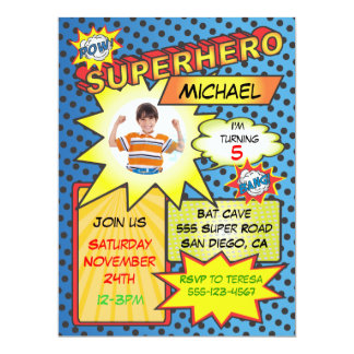 Comic Book Superhero Photo Insert Birthday Party 6.5x8.75 Paper Invitation Card