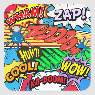 Comic Book Superhero Square Sticker