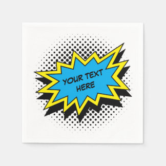 Comic Book Superhero Style Party Paper Napkin