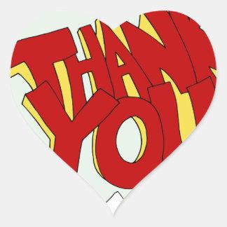 Comic Book Thank You Text Cartoon Heart Sticker