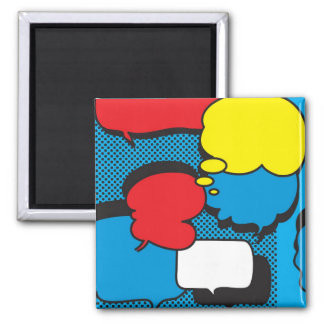 Comic Book Thought Bubbles 2 Inch Square Magnet