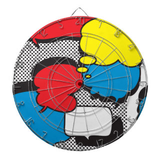 Comic Book Thought Bubbles Dartboard With Darts