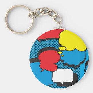 Comic Book Thought Bubbles Basic Round Button Keychain