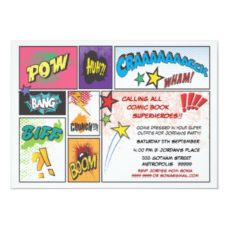 "Comic Book Typography Boys Birthday Party Invite 5"" X 7"" Invitation Card"