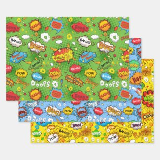 Comic Book Wrapping Paper Set