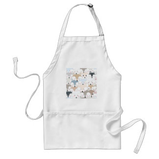 Comic cartoon cute fox or wolf pattern adult apron