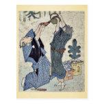 Comic celebration of the New Year Ukiyo-e. Postcard