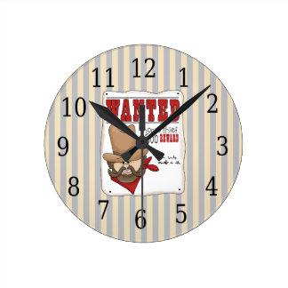 Comic Cowboy Wanted Kids Clock