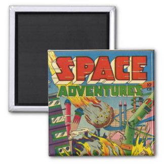 Cómic de los aventureros del espacio imán cuadrado