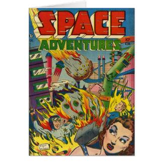 Cómic de los aventureros del espacio tarjeta de felicitación