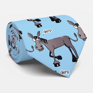 Comic donkey mocaic light blue background tie