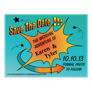 Comic Dot Save The Date Post Card