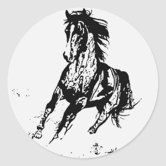 Comic Drawing Horse Classic Round Sticker