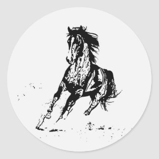 Comic Drawing Horse Round Sticker