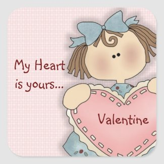 Comic Girl My Heart Valentine's Day Stickers
