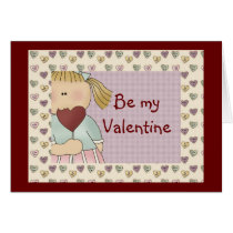 Comic Girl with heart Valentine's Day Card