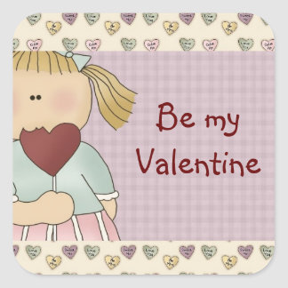 Comic Girl with Heart Valentine's Day Stickers