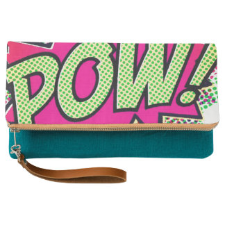 comic green pink POW hand clutch