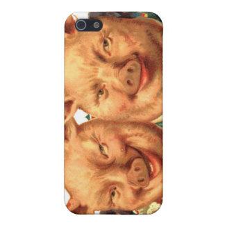 Comic Happy Piggy Pigs Pig Couple Vintage Art iPhone SE/5/5s Case