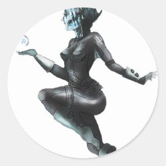Comic Heroine / Fish Lady Classic Round Sticker