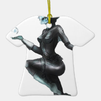 Comic Heroine / Fish Lady Double-Sided T-Shirt Ceramic Christmas Ornament