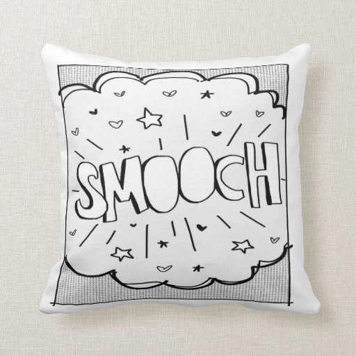 Comic inspired SMOOCH Throw Pillows