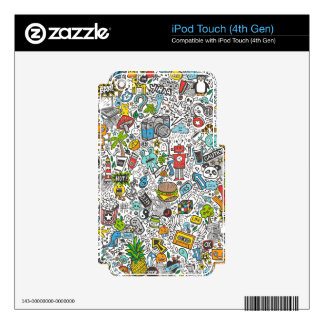 Comic Pop art Doodle Skins For iPod Touch 4G