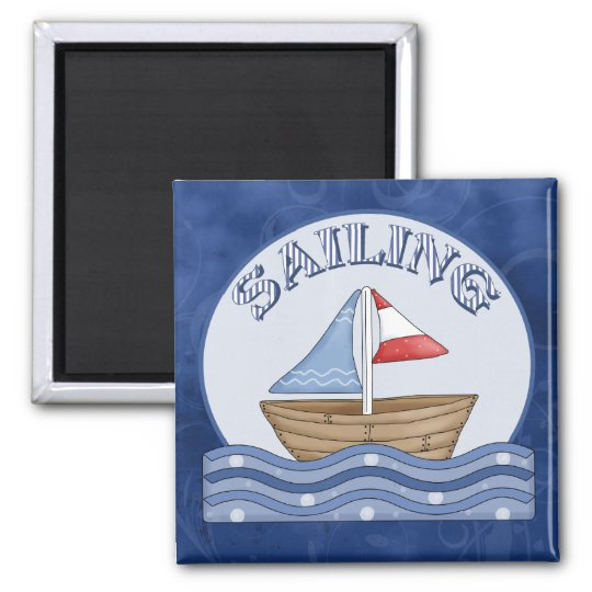 Comic Sailing Boat Magnet