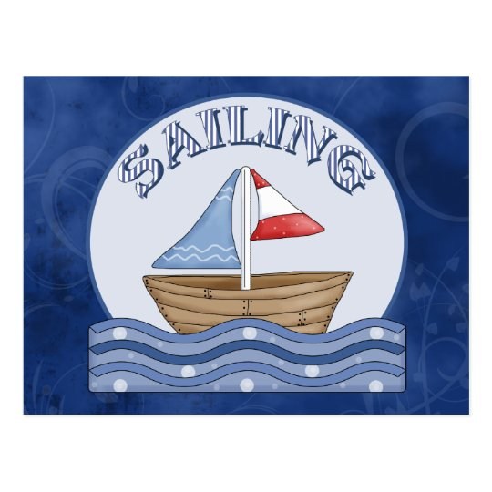 Comic Sailing Boat Postcard