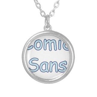 comic sans round pendant necklace