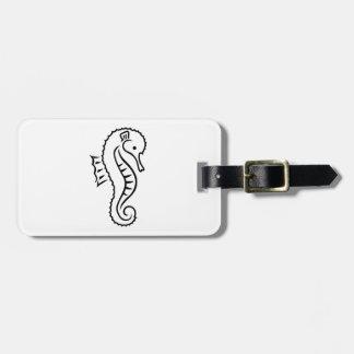 Comic seahorse bag tag