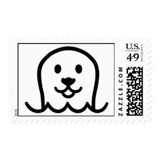 Comic seal postage stamps