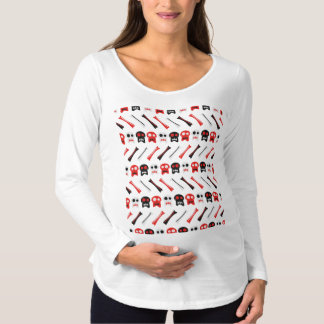 Comic Skull with bones colorful pattern Maternity T-Shirt