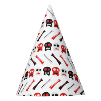 Comic Skull with bones colorful pattern Party Hat
