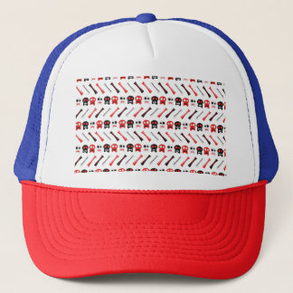 Comic Skull with bones colorful pattern Trucker Hat