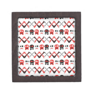Comic Skull with crossed bones colorful pattern Jewelry Box