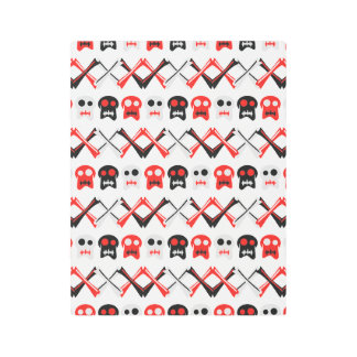 Comic Skull with crossed bones colorful pattern Metal Photo Print