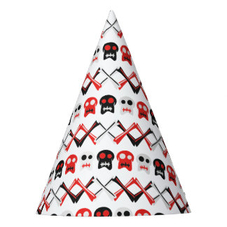 Comic Skull with crossed bones colorful pattern Party Hat