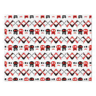 Comic Skull with crossed bones colorful pattern Photo Print
