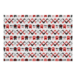 Comic Skull with crossed bones colorful pattern Poster