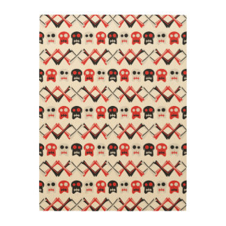 Comic Skull with crossed bones colorful pattern Wood Wall Decor